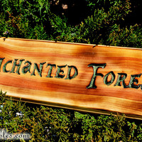 The Enchanted Forest Sign, Once Upon a Time, Fairy Tales, Carved Juniper Wood Sign