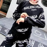 """Balenciaga"" Women Casual Fashion Letter Print  Long Sleeve Two piece set"