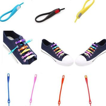 CREYYN6 10 PCS /pack  Novelty No Tie Shoelaces Unisex Elastic Silicone Shoe Laces For Men Women All Sneakers Fit Strap Sport PU Canvas