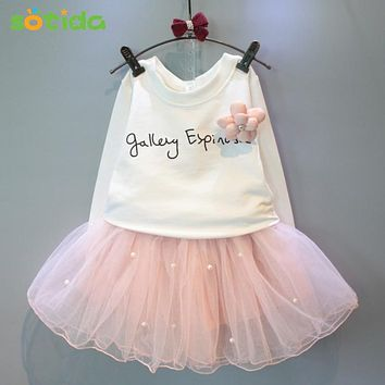 Girls Dresses 2017New lovely girls white tee shirt and pink dress with rhinestone clothes set kids autumn children clothing set