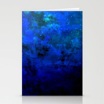 SECOND STAR TO THE RIGHT Rich Indigo Navy Blue Starry Night Sky Galaxy Clouds Fantasy Abstract Art Stationery Cards by EbiEmporium