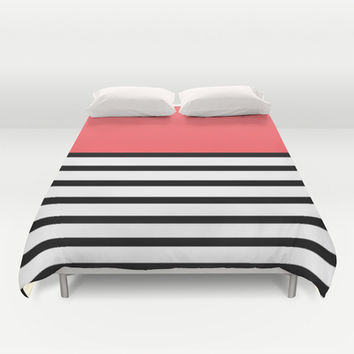 Black and White Stripe Infra Red Pattern Duvet Cover by RexLambo