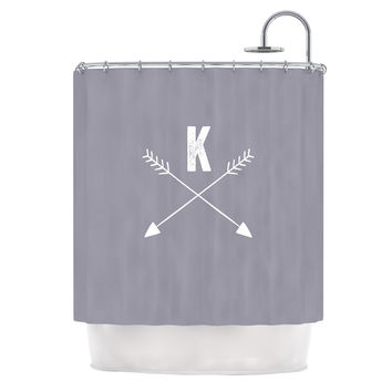 "KESS Original ""Gray Arrow Monogram"" Shower Curtain"
