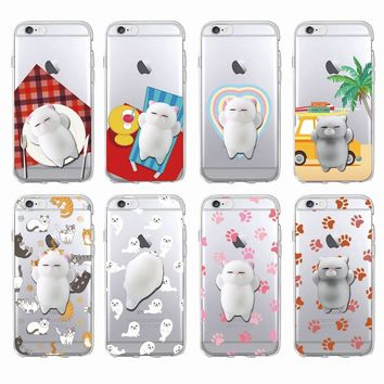 Sleeping Cat Kitty Squishy  Animals Seal Relieve Anxiety Soft Phone Case For iPhone 7 7Plus 6 6S 6Plus SAMSUNG