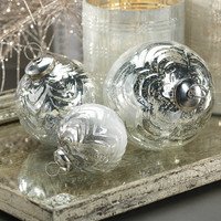 Wave Design Glass Ball Ornament - Set of 12