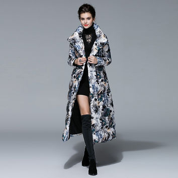 Casual Down Jackets Wide-Waisted Long Sleeve New Gothic Print Warm Designer New 2017 Winter Long Women Down Jacket