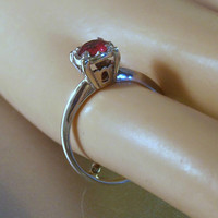 9K Ruby Ring, Art Deco White Gold, Solitaire Princess Setting, Size 5, July Birthstone