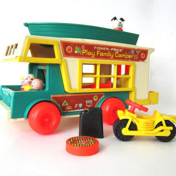 20% OFF SALE Vintage 1972 Fisher Price Little People Camper truck with boat, ladder, motorcycle, etc