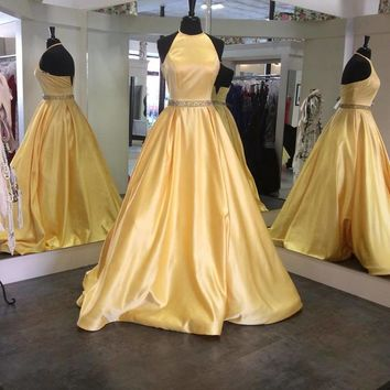 Evening Dresses Yellow Satin Prom Dresses Beaded Long Dress