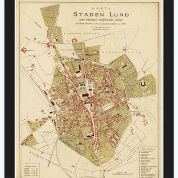 Old Map of Lund, Sweden 1875 Antique Vintage map - VINTAGE MAPS AND PRINTS