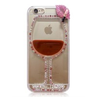 Bling Transparent Clear Case for 3D Rhinestone Red Wine Cup Lips Liquid Phone Case for iPhone 4s 5s 6s 7 Plus Cover