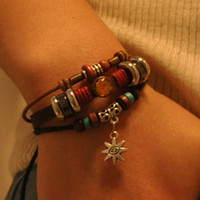 fashion  Adjustable Leather Bracelet and Wooden beads  Woven Bracelet cuff bracelet  B32