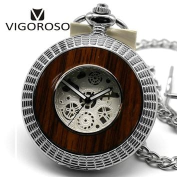 VIGOROSO Steampunk Skeleton Transparent Roman Mechanical Pocket Watch Relogio De Bolso Steel Fobs Long Chain Pendant Nurse Clock