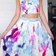 2Pcs Floral Print Cropped Top Pleated Mid Skirt Set
