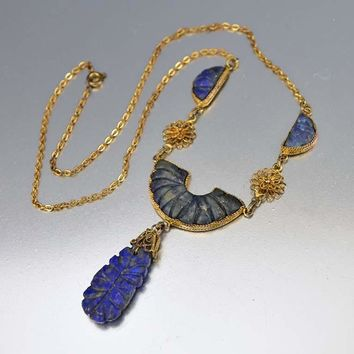 Gilded Gold Chinese Carved Lapis Lazuli Necklace