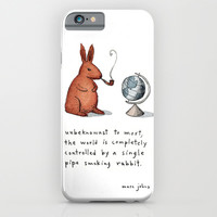 Pipe-smoking rabbit iPhone & iPod Case by Marc Johns