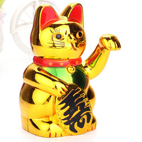 New Arrival Plastic Electric Waving Lucky for Cat Feng-Shui Lucky MoneyCat Maneki Neko Gold by AA Battery
