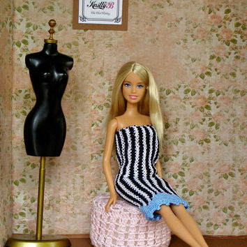 Black & White Knit Barbie Dress. Handmade Doll Gown. Chic Chick Clothing