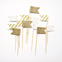 12 Gold Stripe, Glitter & Polka Dot Flag Cupcake Toppers - Washi Tape Cupcake Toppers, wedding, engagement, birthday, baby shower, tea party