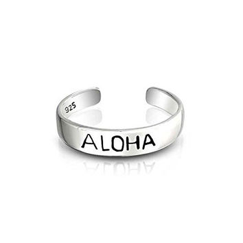 Bling Jewelry Adjustable Mid Knuckle Ring Sterling Silver Hawaii Aloha Toe Rings