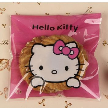 50pcs/lot cute pink bownot Hello Kitty Candy Bags Self-adhesive Plastic Biscuit Packaging Bag 10*10cm plus 3cm