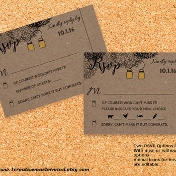 Instant Download, DIY Wedding Template rsvp response card, Editable PDF, Printable, Digital, Kraft Mason Jar and Fireflies #1CM77-2
