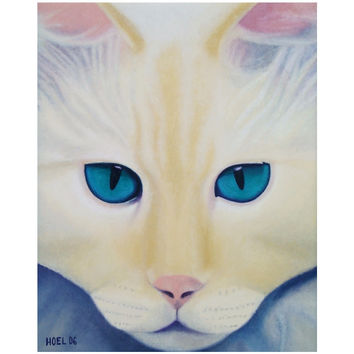 I See Into You - Canvas Mini of Cat Acrylic Paint Fine Art