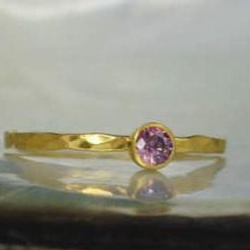 Dainty Solid 14k Gold Alexandrite Ring