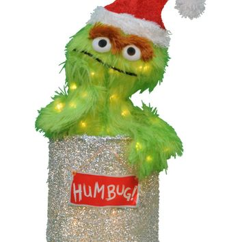 "18"" Sesame Street Oscar the Grouch Christmas Outdoor Decoration - Clear Lights"
