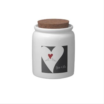 Cute White Doves in Love Jars for Homemade Candy Gift: Valentine's Day Gift Idea