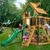 Gorilla Playsets Navigator Treehouse Wooden Swing Set