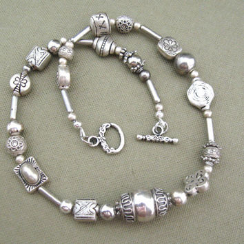 Silver Tribal Metal Beaded Strand Necklace