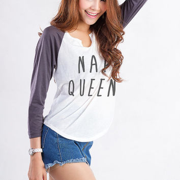 Nap Queen Baseball 3/4 Sleeve Shirt Tumblr Sweatshirts Funny Baseball Graphic Tee Trendy Shirt Instagram Blogger Shirt Gifts for Teenager