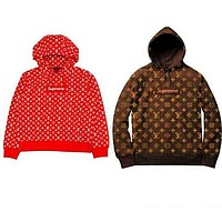 LV SUPREME HOODIE casual wild sports style loose hooded pullover sweater