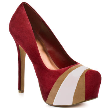 HERSTAR™ Red Gold White Team Color Suede Pumps