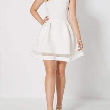 White Mesh Trimmed Skater Dress