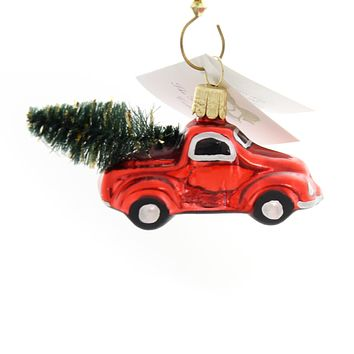 Golden Bell Collection Little Truck With Tree Glass Ornament