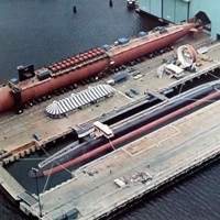 OHIO SSBN726, afloat, and MICHIGAN SSBN727 First Trident Missle Submarines 1979