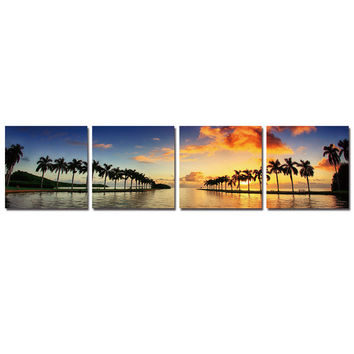 Cuadros Decoracion Lake Wall Picture For Living Room Canvas Printing Modern Coconut Tree Framed 4 Pcs Tableau Peinture Sur Toile