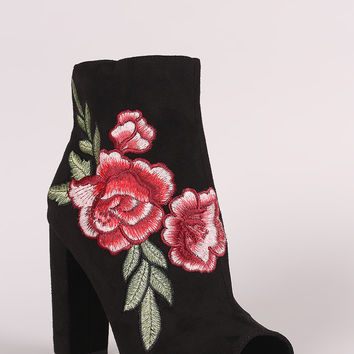 Embroidered Floral Chunky Heeled Ankle Boots | UrbanOG