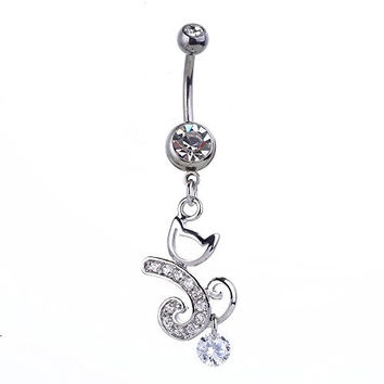 Bala 14g 1.6mm Crystal Cat Belly Button Navel Rings Bar Ring Body Jewelry Piercings