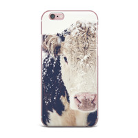 "Debbra Obertanec ""Snowy Cow"" Black White iPhone Case"