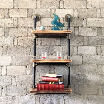 Juneau Industrial Wall Mounted Etagere Rack In Brushed Brass Gray Steel Combo With Natural Stained Wood