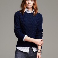 Vented Cable Knit Pullover