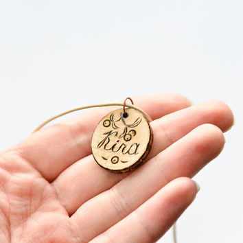 Wooden personalized pendant Woodburned custom charm Small wooden name pendant Pyrography personalized jewelry Mistletoe Christmas gift