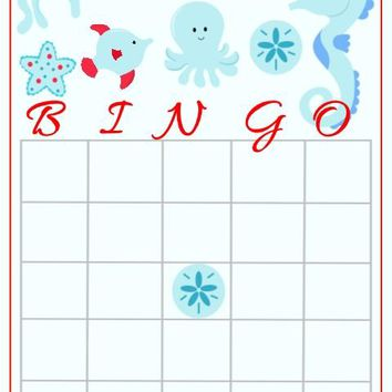 10 Sea Creature Ocean Baby Shower Bingo Cards