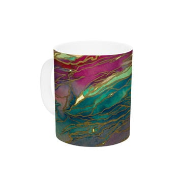 "Ebi Emporium ""Agate Magic - Bold Red Aqua"" Green Maroon Ceramic Coffee Mug"