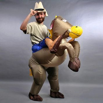 Fan Operated Inflatable Horse Riding Cowboy Costumes