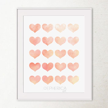 Printable wall art print, Peach hearts wall decor Peach coral hearts art print, Printable art Girly wall art Girls bedroom decor, Wall print