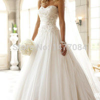 Spring Sweetheart Chiffon Wedding Dresses Bride robe mariage Open Back Bridal Gowns Floor Length 2015